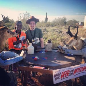 Playing cards with deer and antelopes post Lost Dutchman race