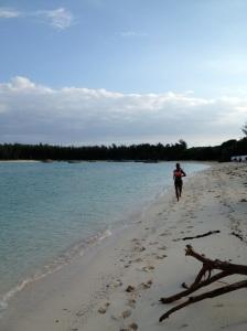 Running on a beach in Zanzibar, Tanzania
