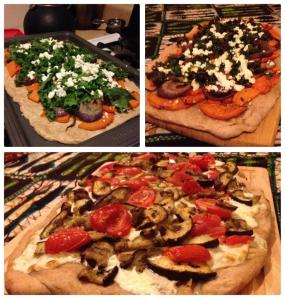 Sweet Potato Kale Pizza & Eggplant Mozzarella Pizza